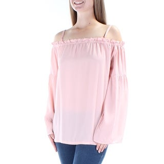 INC Womens Pink Ruffled Long Sleeve Off Shoulder Top  Size: XL