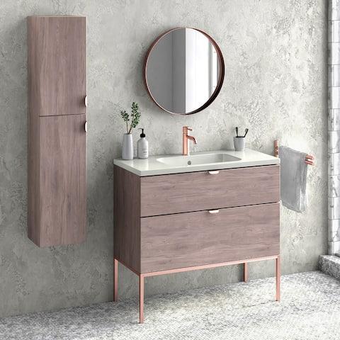 """40"""" Bathroom Vanity Freestanding Cabinet + Sink + legs Aspen W40 x H35 x D18 in Weathered oak wood"""