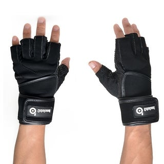 ODOLAND Weight Lifting Gloves Size M w/ Long Wrist for Gym Workout Fitness Black