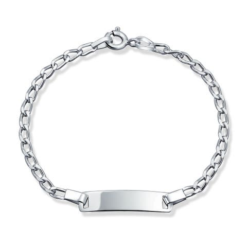 Thin ID Identification Bracelet For Women Curb Cuban Link Engravable Name Plate 925 Silver Sterling Small Wrists 6 Inch