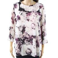 Calvin Klein Black Womens Size Medium M Floral Flare-Sleeve Blouse