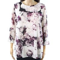 Calvin Klein Purple Womens Size Small S Floral Flare-Sleeve Blouse