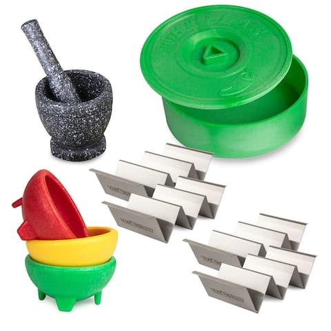 Taco Tuesday TTTK4 Taco Kit, Includes Tortilla Warmer, 3 Salsa Bowls, 4-Set Taco Shell Holders, Mortar & Pestle