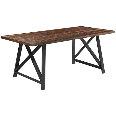 """2xhome Dark Wood Industrial Mid Century Modern Table Steel Frame Metal Leg Dining Table Kitchen Home Commercial 71"""" inches"""