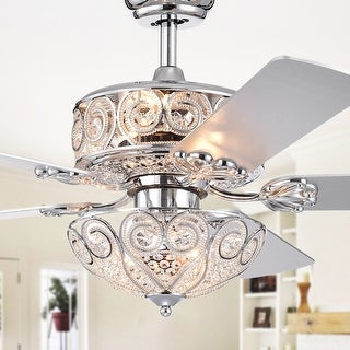 Catalina Chrome 5 Blade 52 Inch Crystal Ceiling Fan On Sale Overstock 26386812
