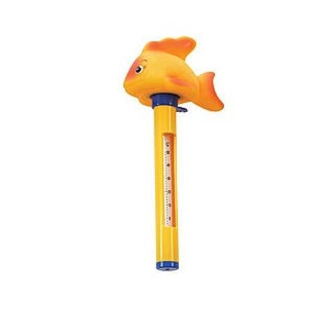 "9"" Yellow Goldfish Floating Swimming Pool Thermometer with Cord"