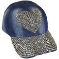 Heart Sparkling Bedazzled Studded Baseball Cap Hat, Denim, Light Blue - Thumbnail 0