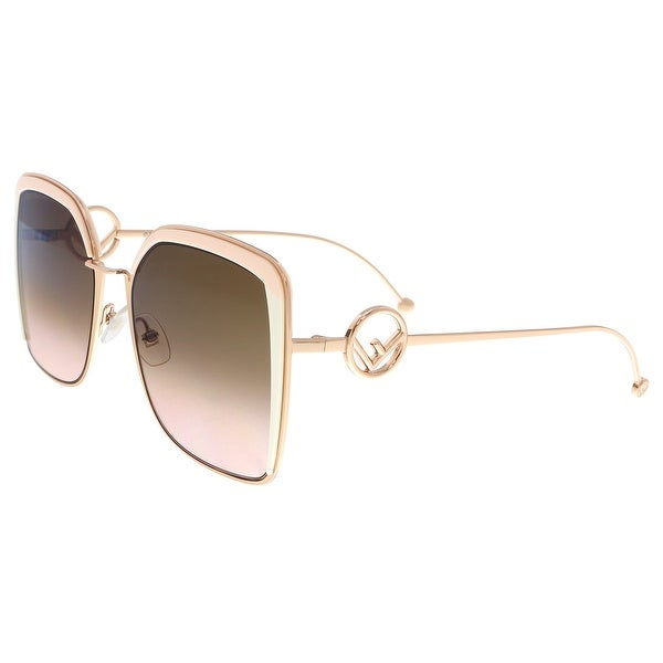 5f419fe4d1a Shop FENDI 0294 S LN 35J Pink Square Sunglasses - 55-19-140 - Free ...