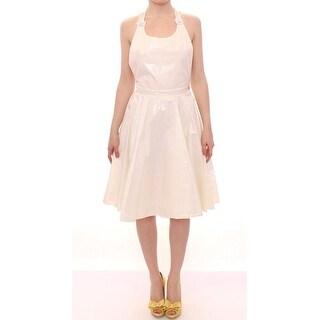 Licia Florio Licia Florio White Halterneck Knee Length Tea Dress
