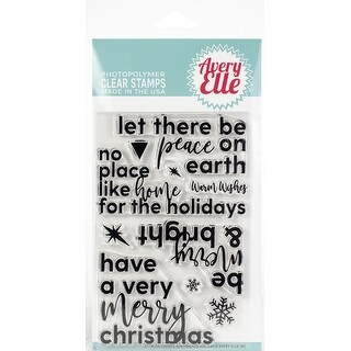 """Avery Elle Clear Stamp Set 4""""X6""""-Corner Sentiments-Holiday"""