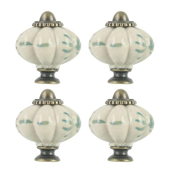 4pcs Ceramic Knobs Vintage Knob Drawer Round Pull Handle Furniture Cupboard Wardrobe Dresser Door Decorative, Beige