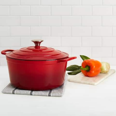 Epicurious 6QT Enamel Cast Iron Covered Round Dutch Oven - Red