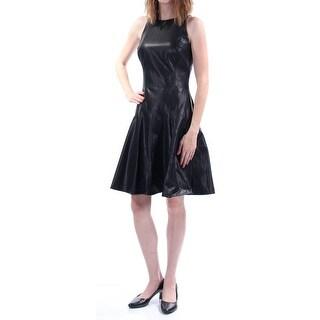 RALPH LAUREN $169 Womens 1610 Black Faux Leather Dress 4 B+B