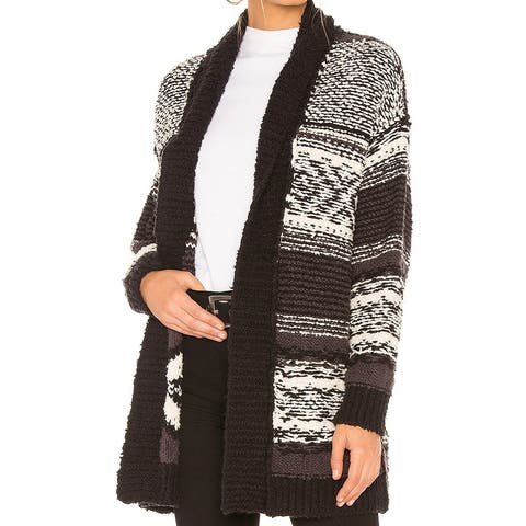 Free People Black Multi Women Size Medium M Belted knitted Cardigan