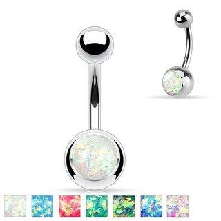 Synthetic Opal Glitter Set 316L Surgical Steel Belly Button Rings