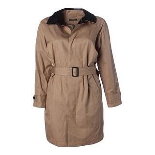 Lauren Ralph Lauren Womens Plus Faux Leather Long Sleeves Trench Coat