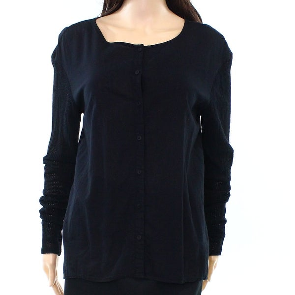 17669e200c Shop Michael Stars NEW Black Womens 0 Mesh Sleeve Detail Button Down ...
