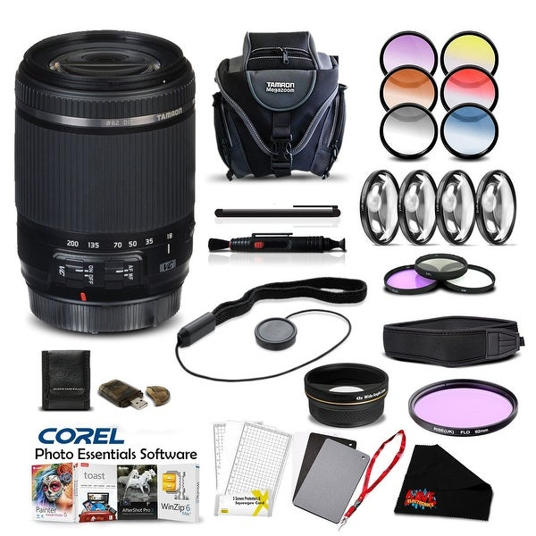 Tamron 18-200 f/3.5-6.3 Di II VC Lens for Canon Pro Accessory Kit - Black