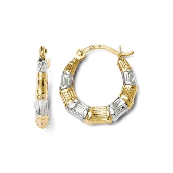 10k Gold with Rhodium-plated Polished and Textured Hinged Earrings