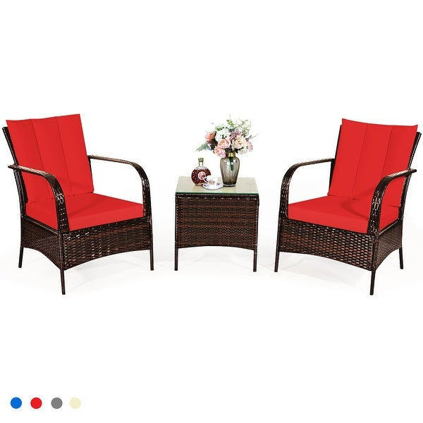 Costway 3 PCS Patio Wicker Rattan Furniture Set Coffee Table & 2. Opens flyout.