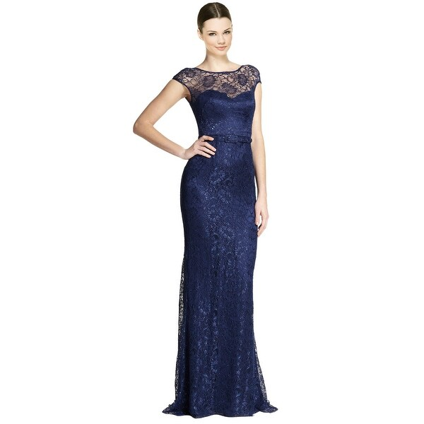 Theia Cap Sleeve Belted Lace Evening Gown Dress - 12 - Free Shipping ...