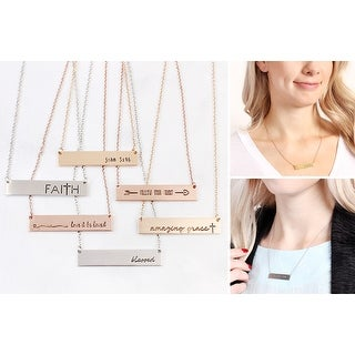 RIAH FASHION'S Simple Message Bar Pendant Necklace