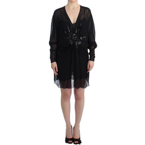 Cavalli Black long sleeve silk Women's dress