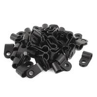 50Pcs Black Plastic R Type Cable Clip Clamp for 6mm Dia Wire Hose Tube