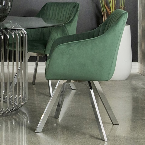 Modern Art Deco Design Green Velvet Dining Chair with Chrome Swivel Base