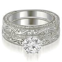 0.50 cttw. 14K White Gold Antique Round Cut Diamond Bridal Set
