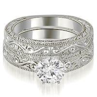 0.75 cttw. 14K White Gold Antique Round Cut Diamond Bridal Set