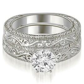 1.00 cttw. 14K White Gold Antique Round Cut Diamond Bridal Set