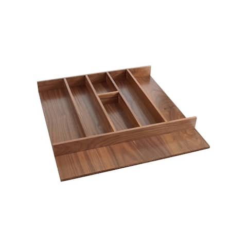 "Rev-A-Shelf 4WUT-WN-3SH 4WUT Series 21-1/8"" Trimmable Cutlery Tray with 7 Compartments - Walnut"