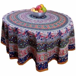 "Handmade 100% Cotton Elephant Mandala Floral 81"" Round Tablecloth Blue Amber"