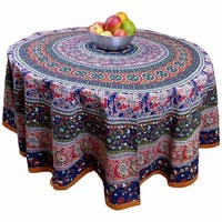 "Handmade 100% Cotton Elephant Mandala Floral 81"" Round Tablecloth Blue Amber"