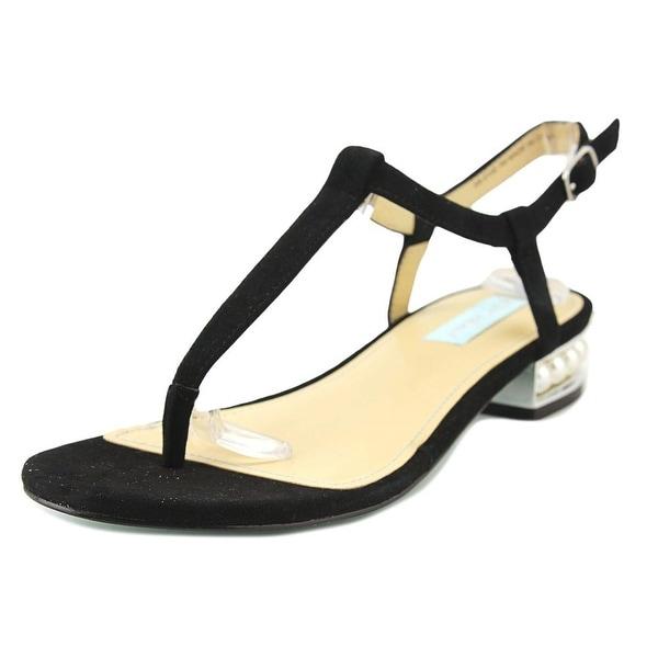 Betsey Johnson Evie Women Open Toe Suede Black Sandals