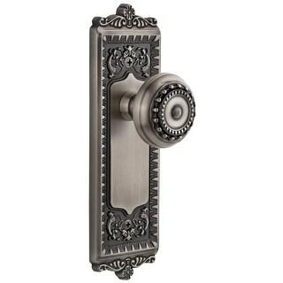 """Grandeur WINPAR_PRV_238  Windsor Solid Brass Rose Privacy Door Knob Set with Parthenon Knob and 2-3/8"""" Backset"""