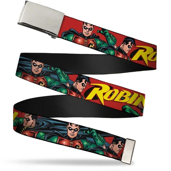 "Blank Chrome 1.0"" Buckle Robin Red Green Poses Red Webbing Web Belt 1.0"" Wide - S"