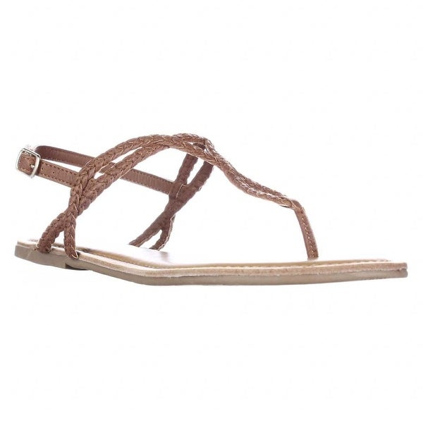 AR35 Keira Braided Thong Flat Sandals, Cognac