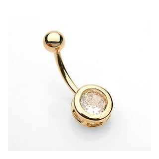 "Navel Belly Button Ring with Gold Plated 7mm Round CZ - 14GA - 3/8"" Long"