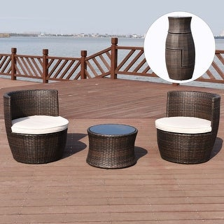 Costway 3 PCS Outdoor Rattan Stackable Furniture Set Chair Coffee Table  Cushioned