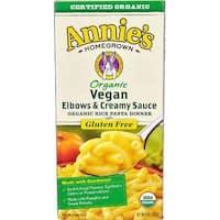 Annie's Homegrown Organic Gluten Free Vegan Elbows and Creamy Sauce Rice Pasta Dinner - Case of 12 - 6 oz.
