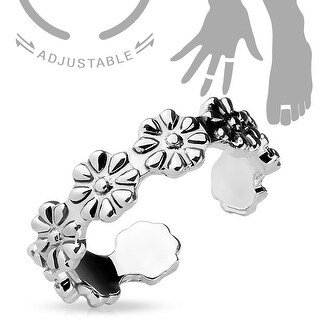 Linked Flowers Adjustable Toe Ring/Mid Ring (Sold Ind.)