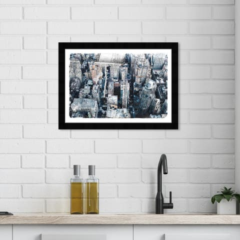 Wynwood Studio 'City News' Cities and Skylines Wall Art Framed Print United States Cities - Gray, Black