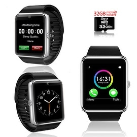 Indigi® Silver GT8 Bluetooth 2in1 SmartWatch & Phone w/ Pedometer + Sleep Monitor + Camera w/ 32gb microSD Included