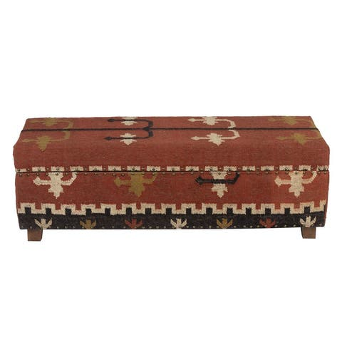 "Handmade Kilim Upholstered Storage Bench (India) - 48"" L x 16"" W x 16"" H"