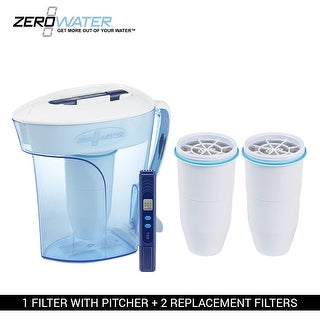 Zero Water ZD010 10 - Cup Pitcher Bundle W/ Built In TDS Meter - (2 Pack) New