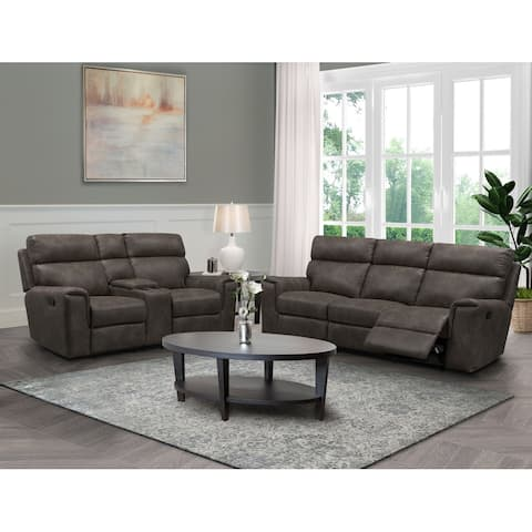 Abbyson Lawrence Fabric Manual Reclining Sofa and Loveseat Set