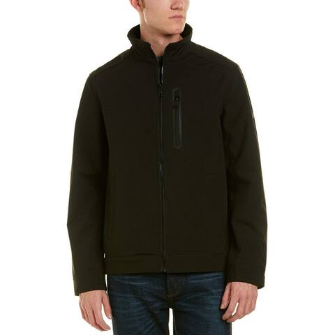 Nautica Mens Jacket Black Size Large L Lightweight Softshell Zip Front