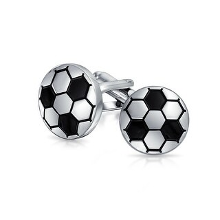 Bling Jewelry Two Toned Black Soccer Ball Mens Sports Cufflinks Rhodium Plated